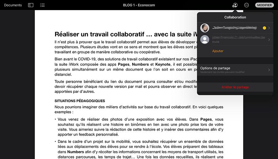 Réaliser un travail collaboratif avec la suite iWork